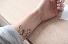 Items similar to butterfly tattoo / fake tattoo / black and white butterflies tattoo / girly tattoo / big tattoo / girl temporary tattoo by temp tat on Etsy