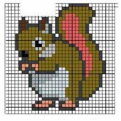 Fabinha Graphics For Embroidery: Animals Tiny Cross Stitch, Beaded Cross Stitch, Cross Stitch Animals, Cross Stitch Embroidery, Cross Stitch Patterns, Manta Animal, Broderie Simple, Pixel Art Templates, Stitch Cartoon