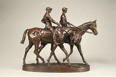 "Emmanuel Frémiet (French, 1824-1910) A PAIR OF MOUNTED JOCKEYS Bronze with rich dark brown and light brown patina, 19"" x 22 1/2"" First exhibited at the 1855 Paris Salon, Fremiet again exhibited the subject at the Exposition Universelle of 1859. Proving to be such a popular bronze, the sculpture was exhibited abroad in Antwerp in 1885 and then in Copenhagen in 1888 before again exhibiting the piece at the Exposition Universelle of 1889.A Pair of Mounted Jockeys 