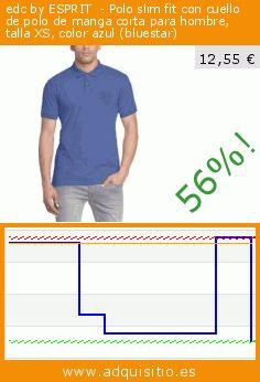 edc by ESPRIT  - Polo slim fit con cuello de polo de manga corta para hombre, talla XS, color azul (bluestar) (Ropa). Baja 56.423611111111%! Precio actual 12,55 €, el precio anterior fue de 28,80 €. https://www.adquisitio.es/edc-by-esprit/polo-slim-fit-cuello-polo-21