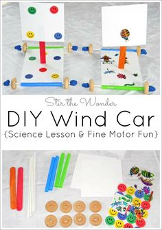 DIY Wind Car: Science Lesson & Fine Motor Fun! Make your own wind car with some everyday craft supplies and six easy steps!