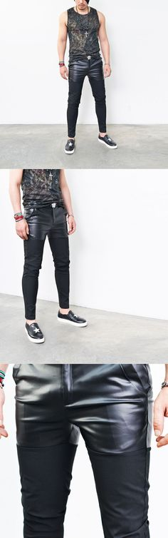 Bottoms :: Leather Crotch Contrast Slim Biker Slacks-Pants 174 - Mens Fashion Clothing For An Attractive Guy Look
