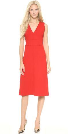 Victoria, Victoria Beckham Red Deep V Midi Dress Scarlet