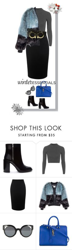 """""""WINTER ESSENTIALS (CONTEST)"""" by dyingroses ❤ liked on Polyvore featuring Forever 21, Topshop, Alexander McQueen, Fendi, Yves Saint Laurent and Salvatore Ferragamo"""