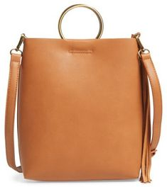 Street Level Mini Faux Leather Ring Handle Tote - Brown