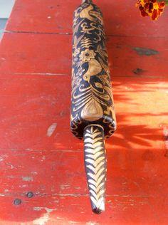 19 inch up cycled rolling pin wood burned ooak by burnedfurniture