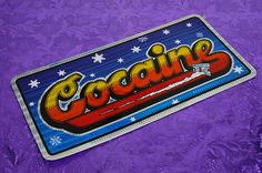 COCAINE '70s Vintage New Old Stock Vanning Glitter Car/Van License Plate Bumper Sticker on Etsy, $4.99