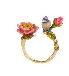 Authentic Les Nereides flower bird enamel glaze pink