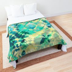 Digital Tie-Dye watercolor abstract art in Aqua, Khaki, Yellow, Blue, Emerald Green. • Millions of unique designs by independent artists. Find your thing. Tie Dye Bedding, Tie Dye Fashion, Abstract Watercolor Art, Yellow Ties, Make Your Bed, College Dorm Bedding, Shibori, Emerald Green, King Size