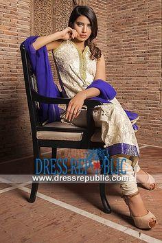 Off-white V Neck Long Shirt with Churidar Pajamas from Pakistani Salwar Kameez Party Dresses