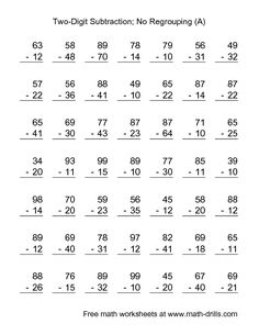 Subtraction worksheets, Worksheets and Math on PinterestSubtraction Worksheet -- Two-Digit Subtraction with No Regrouping -- 49 Questions (