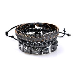 3 Pcs Wholesale Men's Bracelet Vintage Punk Bead Woven Leather Bangle Wristband Unisex in the Bracelets category was listed for on 21 May at by DealBuddy in Outside South Africa Friendship Bracelets With Beads, Bracelets For Men, Bangle Bracelets, Bangles, Men's Jewelry, Jewelry Accessories, Punk, Armband Vintage, Lotion