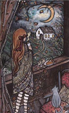 Risultati immagini per art by lady viktoria Illustrations, Illustration Art, Witch Art, Moon Art, Halloween Art, Dark Art, Les Oeuvres, Amazing Art, Fantasy Art