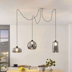 RGB LED Hänge Lampe Decken Stoff Schirm Küchen Muster Farbwechsel Leuchte DIMMER