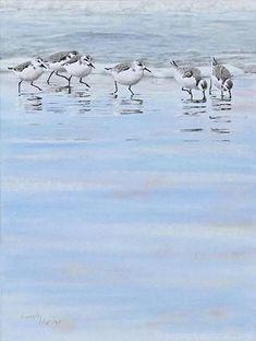 Harmony (Sanderlings in winter plumage) by Kimberly Wurster Pastel ~ 22 x 18: