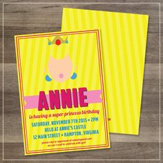 Princess Peach Birthday Party Invitation // Customizable // DIGITAL FILE by afranksdesigns on Etsy