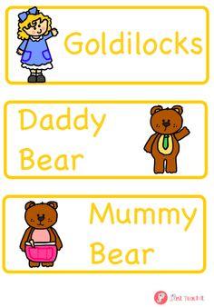 Goldilocks flash cards