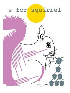 Hello Yellow - S is for Squirrel A3 Screen Print available at www.childrensdept.com.au