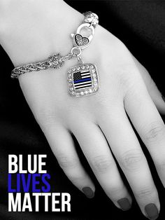 Thin Blue Line Classic Charm Bracelet - Select Your State! Catherine And Sean, Police Officer Wife, Leo Wife, Gold Line, Thin Blue Lines, Alex And Ani Charms, Wholesale Jewelry, Blue Topaz, Jewelery