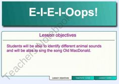 E-I-E-I-Oops!- SMART Board product from Music-and-Technology on TeachersNotebook.com