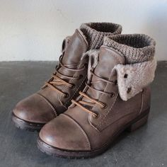 coolway bring leather knit sweater cuff ankle boots (more colors)