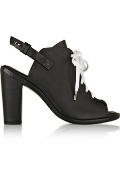 leather lace-up peep-toe heels