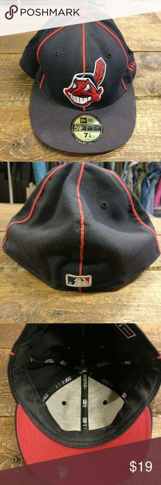New Era Cleveland Indians Fitted Hat 59FIFTY 7-7/8 New Era Cleveland Indians Fitted Hat 59FIFTY 7-7/8  Good used condition.  Chief Wahoo logo. New Era Accessories Hats