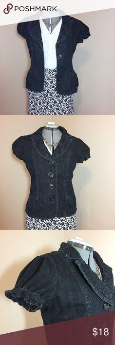"Listing: Cato Denim Short Sleeve Blazer Cato Denim Short Sleeve Blazer. Size M measures: 16"" across shoulders, 20"" across chest, 17"" across waist, 20"" across bottom, 23"" long, 7"" sleeve. Has 2 front pockets and 4 button close. 74% cotton, 25% poly, 1% spandex. 311/25/040617 Cato Jackets & Coats Blazers"