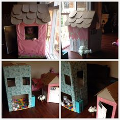 Cardboard cubby houses for toddler. Made mostly from things you already have around your home.   Materials:  various sized boxes/ shoeboxes etc Box cutter Tape Gift wrap Wallpaper samples from hardware store Number stickers Draw knobs to use as door handle Plastic planter pots and fake flowers