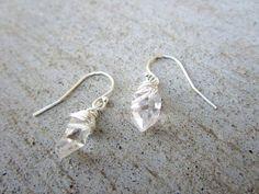 Herkimer Diamond Earrings Long Ear Threaders in Sterling
