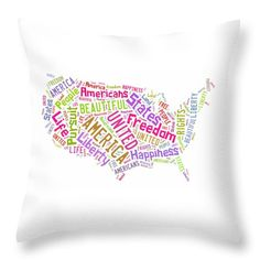 United States Map Art Throw Pillow.