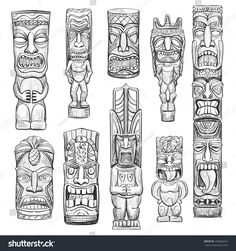 Find Vector Collection Sketches Hawaiian Tiki Idols stock images in HD and millions of other royalty-free stock photos, illustrations and vectors in the Shutterstock collection. Thousands of new, high-quality pictures added every day. Totem Tattoo, Tiki Tattoo, Hawaiianisches Tattoo, Tattoo Bein, Tattoo Pics, Totem Tiki, Tiki Maske, Tiki Head, Tiki Statues