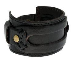 Authentic Regetta Jewelry Wide Leather Casual Mens Black Cuff Bangle Bracelet