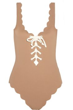 Marysia - Palm Springs Lace-up Scalloped Swimsuit - Mushroom - x small