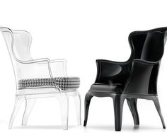 Reminiscent of Starck's Ghost Chair—but with a winged persona—Pasha comes in transparent, black, white, and smoked, glossy-finished polycarbonate. Both indoor and outdoor versions are offered, as is an upholstered cushion for added comfort.  Have also seen wall lights in the same vein.  I still love these (not for main dining area - more for form than function).