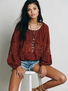 Free People Gotta Love It Peasant Top at Free People Clothing Boutique