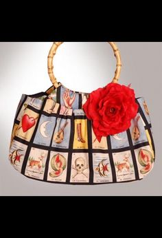 Mis Cositas Bamboo Handle Purse with Loteria Card Designs and Red Silk Rose Size - OS 929907 - Bags | Pinup Girl Clothing ($50-100) - Svpply