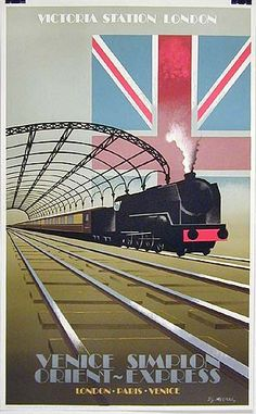 """Date: 1992  Title: Victoria Station London, Venice Simplon Orient Express  Artist: Fix-Masseau  Size: 24.5""""x39.5""""  Comments: The great Art Deco poster master Pierre Fix-Masseau came out of retirement in the 1980s to produce a series of travel posters for the newly revived Orient Express Railway line."""