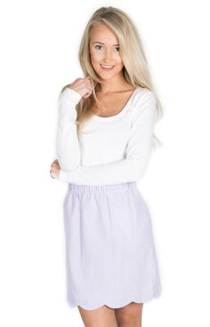 Lavender Scalloped Skirt - http://www.laurenjames.com/collections/private-collection/products/scallop-seersucker-skirt