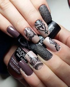 Best Ideas For Nail Art Designs To Inspire Your Imagination Nail Stamping stamping nail art avec quel vernis Lace Nail Art, Lace Nails, Ombre Nail Art, Edgy Nail Art, Nagel Stamping, Stamping Nail Art, Nagellack Design, Mandala Nails, Chrome Nails