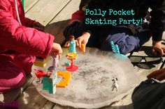 Small toy skating party.  Freeze a basin of ice.  Add small toys for a new type of play.
