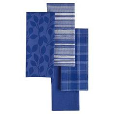 "Bring a pop of color to your kitchen with these patterned dishtowels, showcasing 4 varied designs in a chic daffodil hue.  Product: 4 Piece dishtowel setConstruction Material: CottonColor: BlueberryDimensions: 18"" x 28"" eachCleaning and Care: Machine washable"