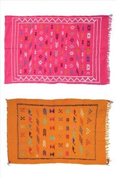 Moroccan berber rugs in bright pink and yellow color shades. Handpicked in Morocco by kira-cph.com