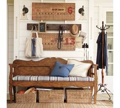 Moran Coat Rack is from Pottery barn.  I like how this is staged with the bench, hooks and panels.