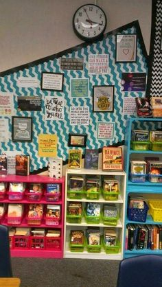 Looking for a little inspiration in decorating your middle school or high school English class? Then you're going to love all the posters, books, and shelving in this classroom! Whether you're planning to redecorate at the start of a new school year or yo Ela Classroom, Special Education Classroom, Classroom Design, Classroom Decor, English Classroom, Future Classroom, Classroom Libraries, Decorating High School Classroom, Classroom Furniture