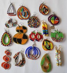 This listing is for ALL 8 pairs. The earrings are handmade using original fine beads. **These are large earrings. ^^These earrings ships through dhl express. More earrings; African Earrings, African Beads, African Jewelry, Beaded Earrings, Earrings Handmade, Crochet Earrings, Hoop Earrings, Beaded Jewelry Patterns, Fabric Jewelry