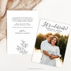This is an easy-to-use elopement announcement template that you can personalize with your own photo and text. Ideal for rustic wedding reception invitations on a budget! #rusticweddinginvitation #elopementannouncement #minimalistwedding Special thanks to Hanne Kelchtermans for the lovely photo! Original Wedding Invitations, Wedding Reception Invitations, Rustic Wedding Reception, Printable Wedding Invitations, Wedding Bathroom Signs, Elopement Announcement, Botanical Wedding, Minimalist Wedding, Budget