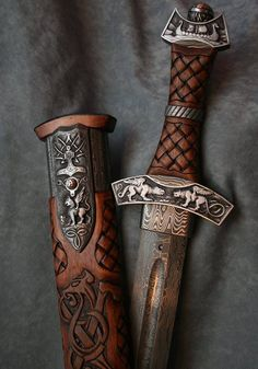Viking style decorated damascus sword