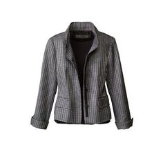 Coldwater Creek Shimmer houndstooth grey jacket