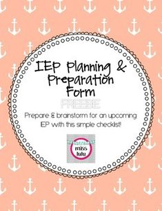 Be prepared for your upcoming IEPs with this simple planning form. An easy way to track progress on current IEP goals, brainstorm ideas for new goals, and keep track of assessments that need to be given.